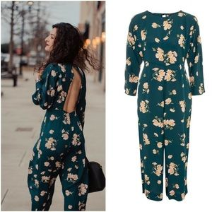 NWT Green Floral Topshop Jumpsuit